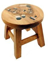 Cute Cats Design Shabby Chic Childs Brown Wood Wooden Stool