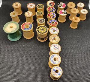 Lot of Vintage Wooden Thread Spools (26 Wooden Spools)