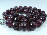 Natural 8mm Faceted Red Garnet Gemstone Round Beads Necklace 18''