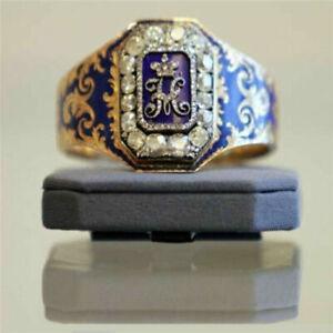 18k Gold Plated Blue Enamel Flower Ring Engraved Signet Rings for Women Jewelry