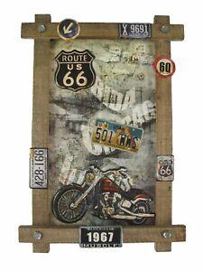 """Blechschild """"Motorrad"""" Bike Motorbicycle Route 66 Nummernschild 59x40cm NEU"""