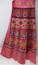 Tienda Ho~PINK~Long wrap skirt~HANDWOVEN COTTON~floral/folk print~INDIAN~plus~OS