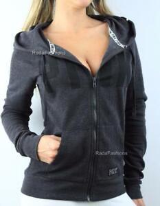Victoria's Secret PINK Perfect Full Zip Hoodie Fleece Logo Fitted Sweatshirt