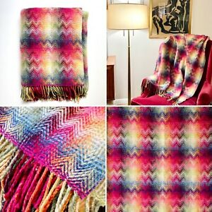 Missoni Montgomery Rainbow Chevron Plaid Throw Blanket Very Clean Excellent Cond
