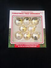 Christmas Commodore Gold Glitter Glass Ornaments 8 total