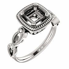Halo Style White Gold Diamonds Milgrain Semi Mount Setting For Princess Stone