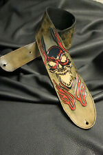 "leather guitar strap  custom made all by hand 4"" Flaming Skull new design red"