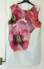 TED BAKER SZ 16 ( 5) DILIANI EXPRESSIVE PINK FLORAL PANSY TUNIC DRESS SUMME