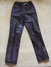 NWOT NEWPORTNEWS Soft Genuine Leather Chocolate Brown Womens Pants Jeans Size 4P