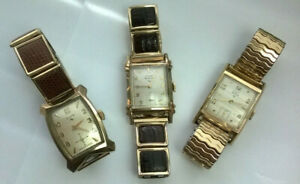 Nice Vintage Elgin Lot 10K Gold Filled Plated Wristwatches Deluxe Shockmaster