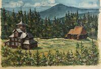 Landschaft in Skandinavien Norwegen Schweden Stabkirche signiert 1954 datiert