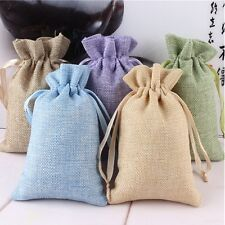 5Pcs Burlap Linen Storage Pouch Bag Jewelry Travel Mini Jute Packing Gift Bags