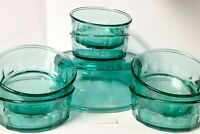 """Arcoroc France Teal Glass Round Serving Bowls Set of 7 One 9"""" - Six 5.25"""""""