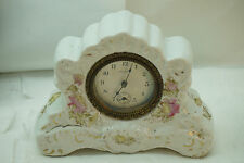 ANTIQUE NEW HAVEN CLOCK PORCELAIN CHINA CASE TABLE CLOCK FLORAL SHELF MECHANICAL