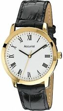 Accurist MS675WR Black Leather Strap Roman Numeral Dial Gents 2Yr Guar RRP £60