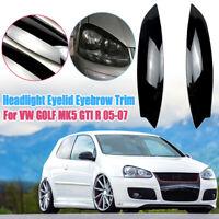 Pair Headlight Eyelids Lids Eyebrow Trim Cover For VW GOLF MK5 GTI Rabbit