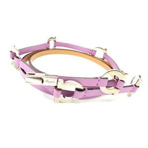 Salvatore Ferragamo belt Ganchini Purple Silver Woman Authentic Used C1245
