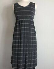 Liz Lange Womans Maternity Dress XS Gray Stripe Knit Midi Stretch Belted
