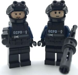 LEGO 2 NEW SWAT TEAM SNIPER POLICE OFFICER FIGURES WITH GUNS