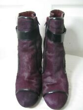 Sonia Rykiel Black Purple Pony Hair Heel Boots Shoes Women's Size 40 / 9 - 9.5