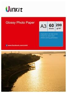 A3 Paper Inkjet Paper High Glossy Middle Thick Print  200Gsm Uinkit - 60 Sheets