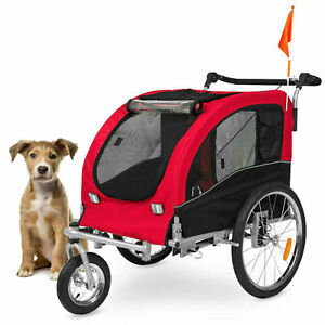2 in1 Pet Carrier Dog Bike Trailer Bicycle Stroller Jogging Dog Carrier Red New