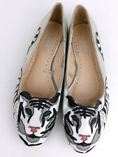 Urban Outfitters Cooperative White Tiger Appliqué Silver Flat Slip On Shoes 8M