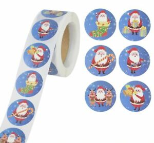 Christmas Xmas Stickers 25mm Round Labels Gift Seal Love Santa Snow Tree Party