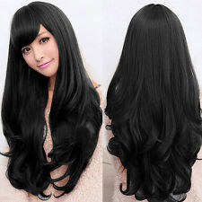 Long Loose Wavy Lace Wig Curly Full Front Natural Hair Wigs Women Black!
