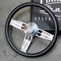 """14"""" Polished Leather Black 1/2 Wrap Steering Wheel 5 Hole Chevy Button"""