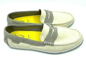 Cole Haan NEW Pinch Weekender White Fabric/Gray Suede Loafer Slip On Size 12 M