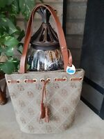 Very Nice Dooney & Bourke Signature Tan Leather Tote Handbag Small Bucket Purse