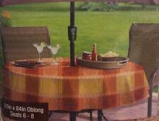 "Morocco Plaid Vinyl Umbrella Tablecloth 60"" X 84"" Oblong With Hole & Zipper"