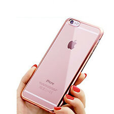 FUNDA  IPHONE 7 4.7 SILICONA GEL TRANSPARENTE CARCASA BORDE ROSA CROMADO