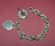 TIFFANY AND CO STERLING SILVER HEART TAG TOGGLE BRACELET