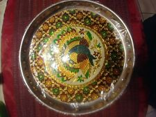 11 Inch Steel Puja Thali Plate With Peacock