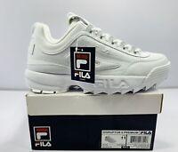Fila mens Strada Disruptor fashion sneakers, White/White/White, Size: 11 M US