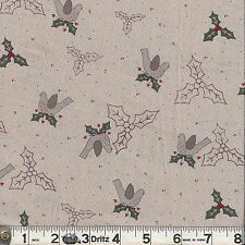 Lecien CANDY CANE ANGELS Holly & Birds Natural Fabric 1/2 yard Lynette Anderson