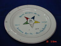 Vintage Plate Handpainted OES Order Easter Star Masonic Dated 1961-62 Mason Mich