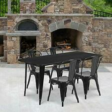 31.5'' x 63'' Rectangular Blue Metal Indoor-Outdoor Table Set with 4 Stack Ch.