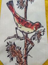 "1940s 1950s Vintage Antique Retro ~Hand Painted Bird ~Mens Dress Shirt Tie ~ 50"""