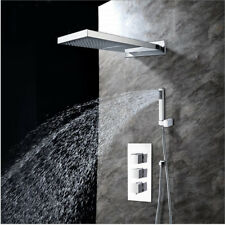Chrome Waterfall Rainfall Shower Faucet SetBrass Luxury Shower head Mixer Tap