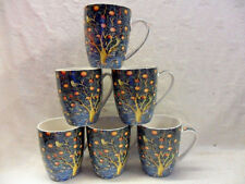 Set of 6 china Aspen Mugs in vintage William Morris Woodpecker design