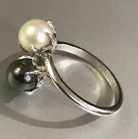 Antique Uncas Mfg. Co. Sterling Silver Grau &White Pearl Ring Size 6