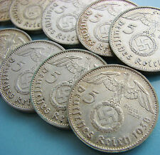 10 pcs x 5 Reichsmark Nazi Silver Coin (Eagle and Swastika!)