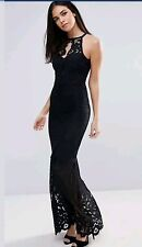 Bnwt * Lipsy* Size 8 Black Lace Fishtail Maxi Dress Prom Cocktail Cruise New
