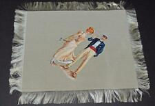 Vintage --  painting on Silk Handkerchief - Lady with Sailor.