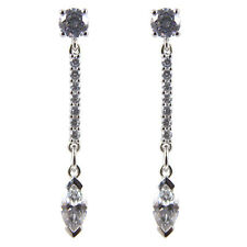 Diamond-Unique Marquise Dropper Earrings Solid Silver Rhodium Platinum (50795)