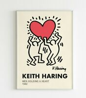 Keith Haring - Holding Heart 1982 Exhibition Retro Vintage Wall Art Poster Print