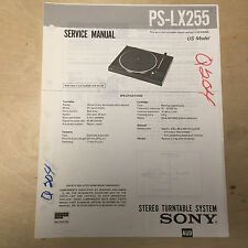 Sony Service Manual for the PS-LX255 Turntable ~ Repair